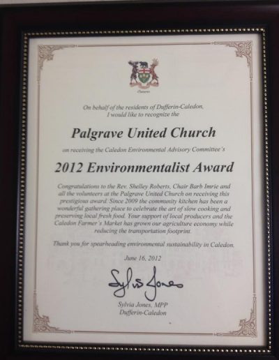 Environmentalist Award 2012, awarded by Sylvia Jones, MPP