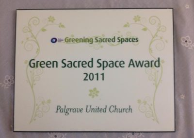 Green Sacred Space Award 2011 Certificate