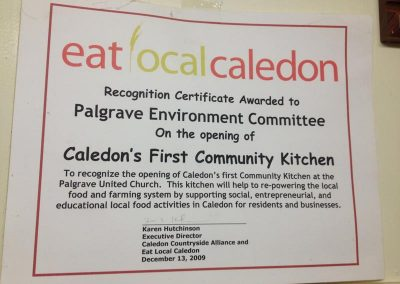 Opening Caledon's First Community Kitchen Certificate 2009